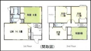 元町貸家  駐車並列5台可。全室2重サッシ・5LDKファミリーに最適